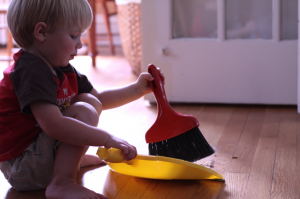 cleaning toddler